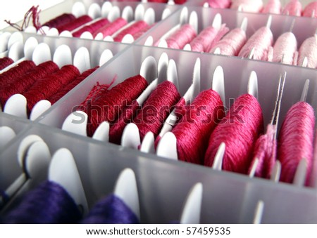A colorful embroidery thread sorting box - stock photo