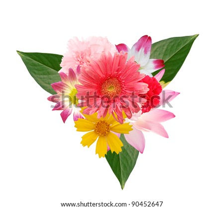 A colorful flower bouquet cutouts - stock photo