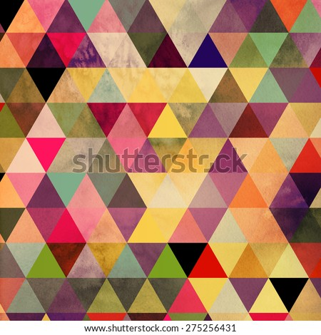 A colorful geometric background with a watercolor texture.