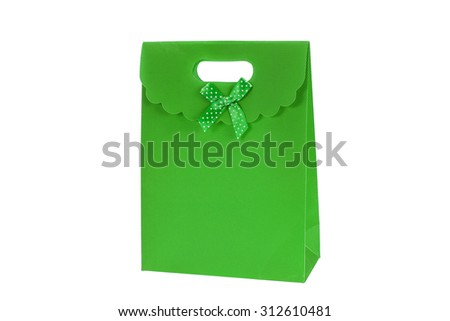 A colorful gift bag isolated on white