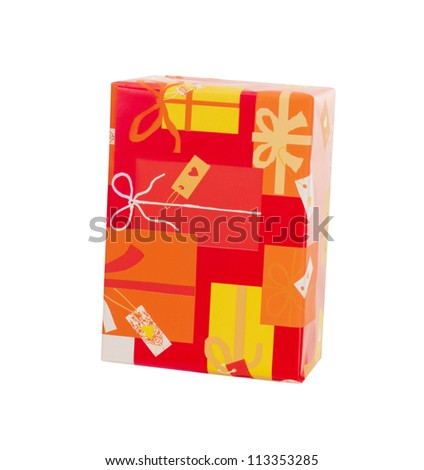 A colorful gift isolated on white background - stock photo