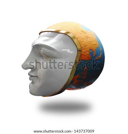 A colorful globe covered by a human face mask for the concept of global face.  - stock photo