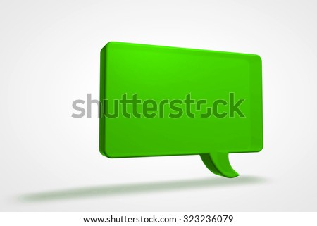 A colorful green 3D speech bubble illustration. - stock photo