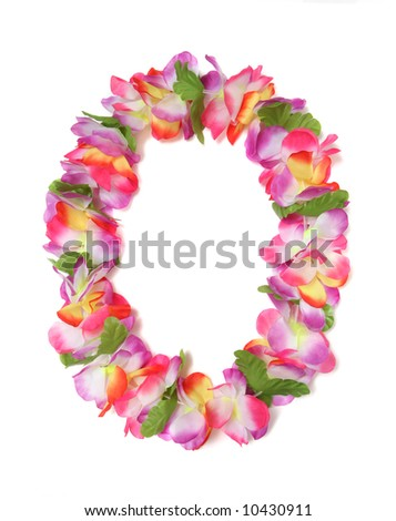 A colorful Hawaiian lei with bright colorful flowers - stock photo