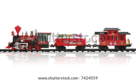 A colorful holiday Christmas train over a white background