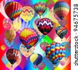 A colorful illustration with multiple balloons. - stock photo