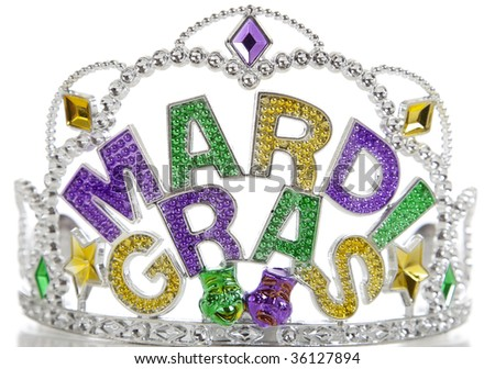 A colorful Mardi Gras crown on a white background with copy space - stock photo