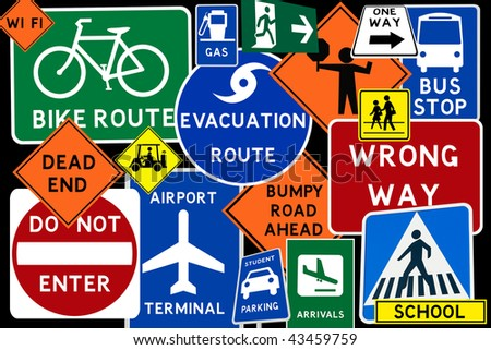 A colorful montage of traffic road signs - stock photo