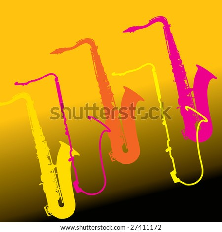 A colorful music sax background with copy space - stock photo