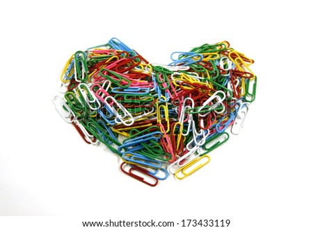 A colorful paper clip against a white background