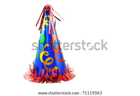 A colorful party hat isolated on a horizontal white background