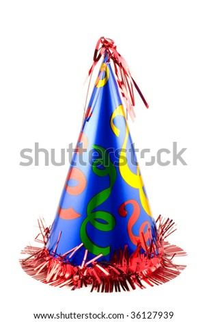 A colorful party hat isolated on white, vertical with copy space - stock photo