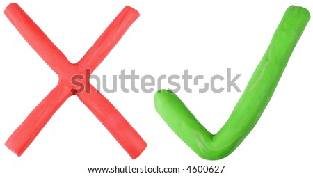 A colorful red cross and green tick made out of plasticine play dough. - stock photo