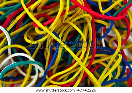 A colorful rubber bands as a background, close-up