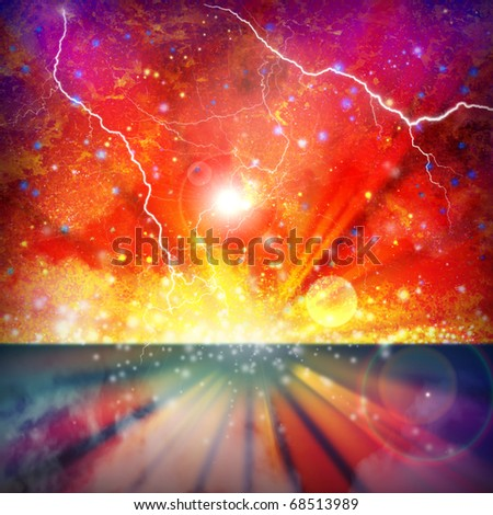 A Colorful Space Star Background with Lightning Flashes