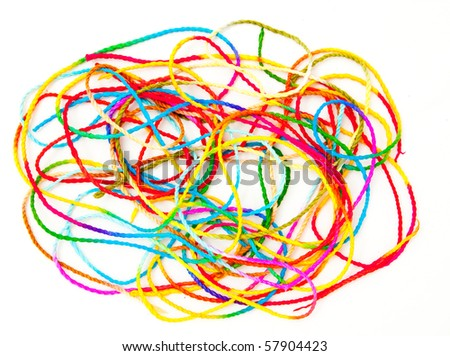 A colorful string on a white background. - stock photo