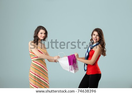 a colorful studio image of two beautiful young women standing, holding a shopping bag, fighting over it and smiling - stock photo