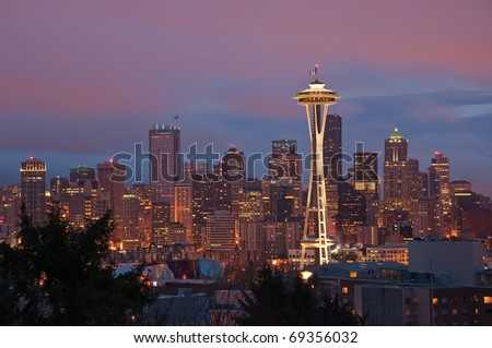 A colorful sunrise on downtown Seattle, Washington.