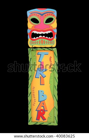 A colorful tiki bar mask and sign isolated over white - stock photo