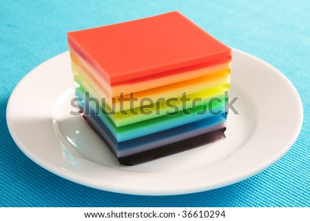 A colorful treat of rainbow layered gelatin dessert. Opaque layers are made with condensed milk.