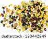 A colorful variety of beans, peas and lentils - macro isolated on white - stock photo