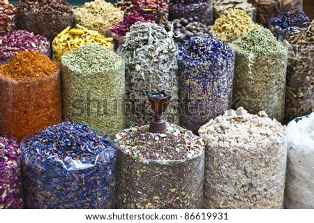 A colorful variety of dry incense for sale at the Dubai traditional market. - stock photo