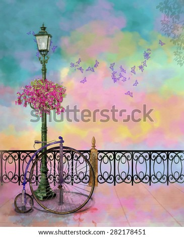 a colorfull park with street lamp and old bicycle in a summer day - stock photo