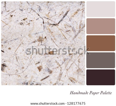 A colour palette with a background texture of fibrous handmade paper with complimentary colour swatches. - stock photo