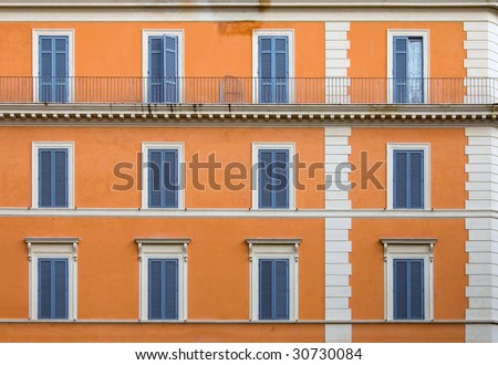 A colourful apartment building, Rome, Italy