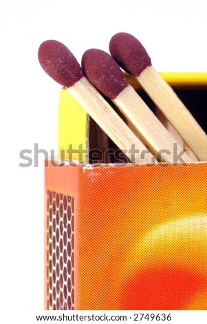 A colourful box of matches, with the drawer opened and the heads of three matches visible, isolated on white - stock photo