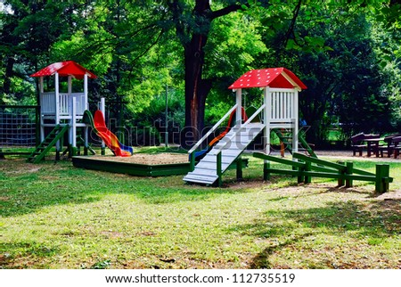 A colourful children playground equipment - stock photo