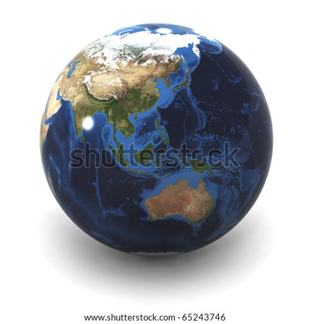 A Colourful 3d Rendered Australia  / Japan Earth Globe
