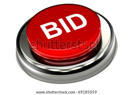 A Colourful 3d Rendered 'Bid' Button Illustration - stock photo
