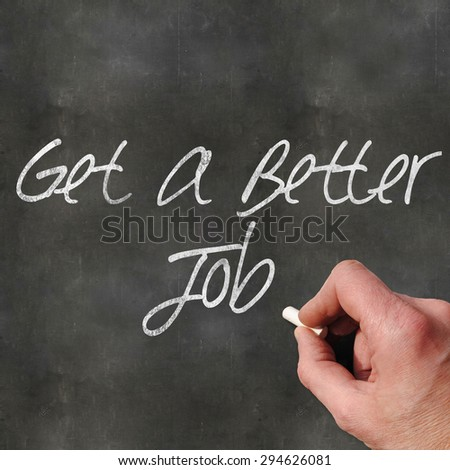 A Colourful 3d Rendered Concept Illustration showing a hand writting on a blank blackboard, get a better job - stock photo