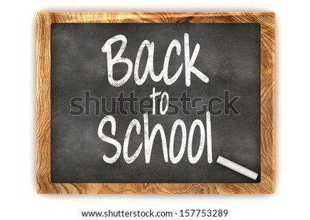 "A Colourful 3d Rendered Concept Illustration showing ""Back to School"" writen on a Blackboard with white chalk - stock photo"