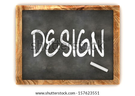 "A Colourful 3d Rendered Concept Illustration showing ""DESIGN"" writen on a Blackboard with white chalk - stock photo"