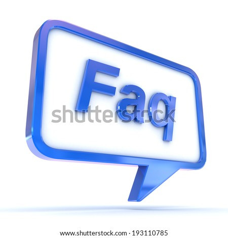 "A Colourful 3d Rendered Concept Illustration showing ""FAQ"" writen in a Speech Bubble - stock photo"