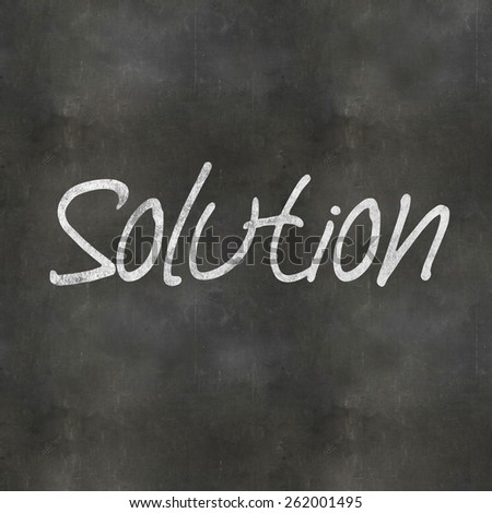 A Colourful 3d Rendered Concept Illustration showing Solution written on a Blackboard - stock photo