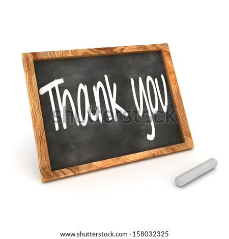 "A Colourful 3d Rendered Concept Illustration showing ""Thank You"" writen on a Blackboard with white chalk - stock photo"