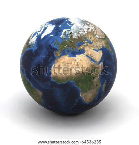 A Colourful 3d Rendered Earth (Europe) Illustration - stock photo