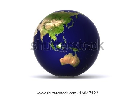 A Colourful,3D Rendered Earth, showing Australia, japan etc