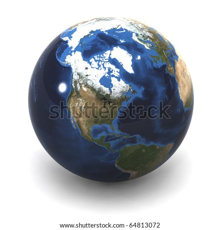 A Colourful 3d Rendered Earth (USA) Illustration