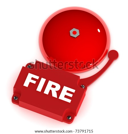 A Colourful 3d Rendered Fire Alarm Bell - stock photo