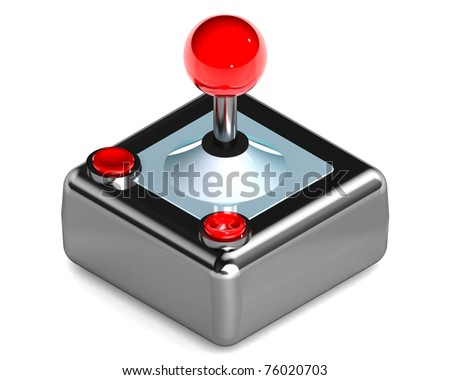 A Colourful 3d Rendered Gaming Joystick Illustration - stock photo