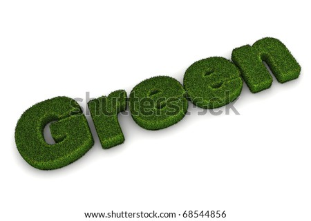 A Colourful 3d Rendered 'Green' Concept Illustration - stock photo