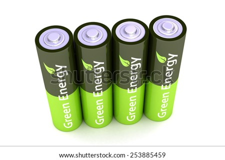 A Colourful 3d Rendered Green Eco Power Batteries Illustration - stock photo