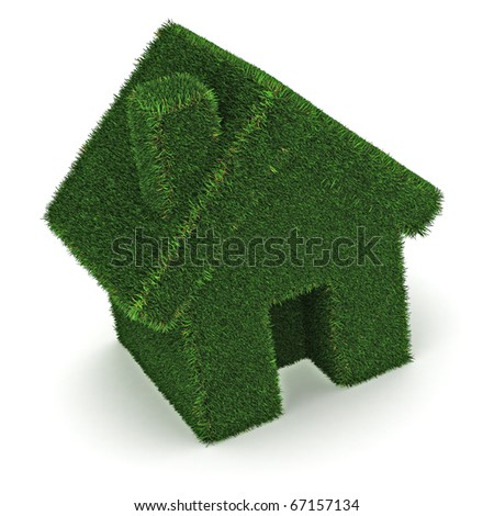 A Colourful 3d Rendered Green House Concept Ilustration - stock photo