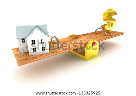 A Colourful 3d Rendered Housing Debt Dollar Illustration - stock photo