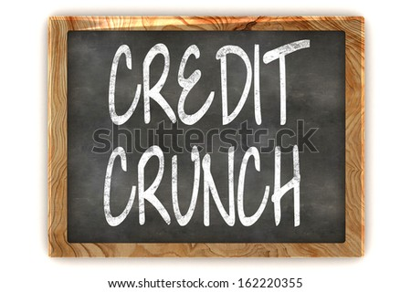 A Colourful 3d Rendered Illustration of a Blackboard Showing Credit Crunch