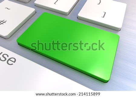A Colourful 3d Rendered Illustration showing a Blank Green Keyboard concept on a Computer Keyboard - stock photo